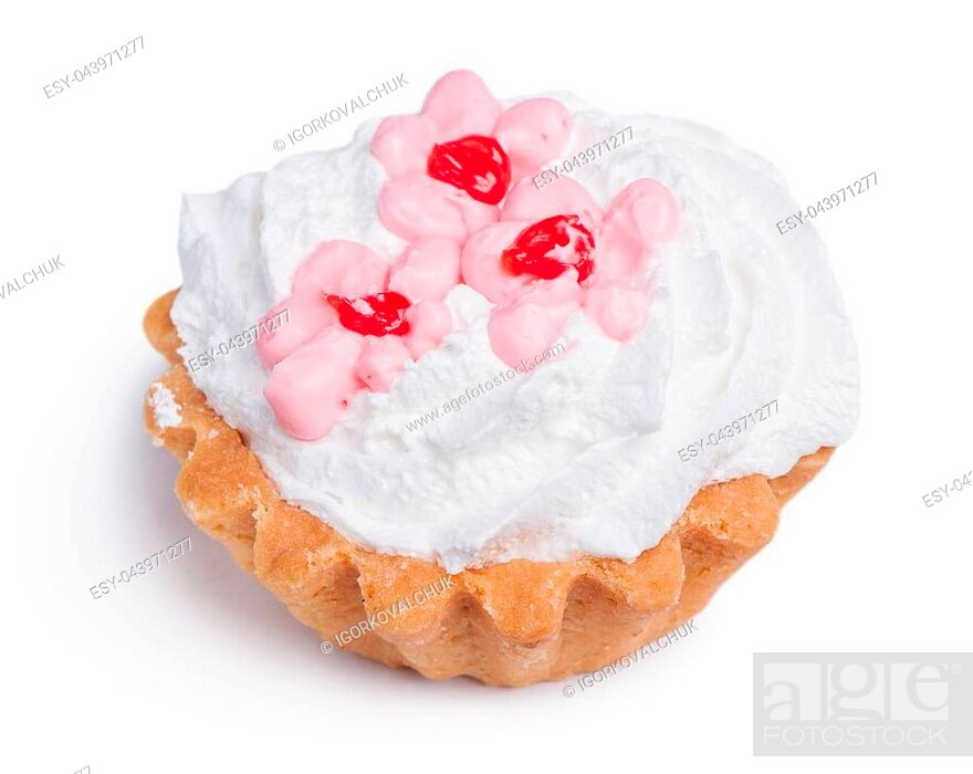 Stock Photo: Cake with cream isolated on white background.