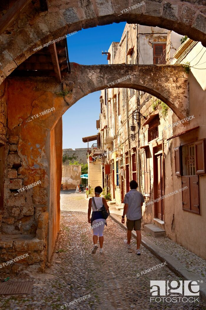 Stock Photo: Narrow medieval lanes of Rhodes, Greece  UNESCO World Heritage Site.