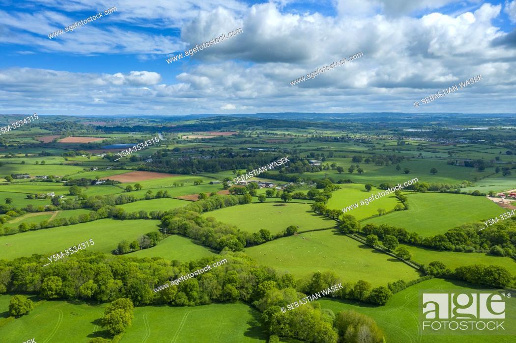 Stock Photo: Spreeng in Devon seen over Beacon Hill near Exeter, Devon, England, United Kingdom, Europe.