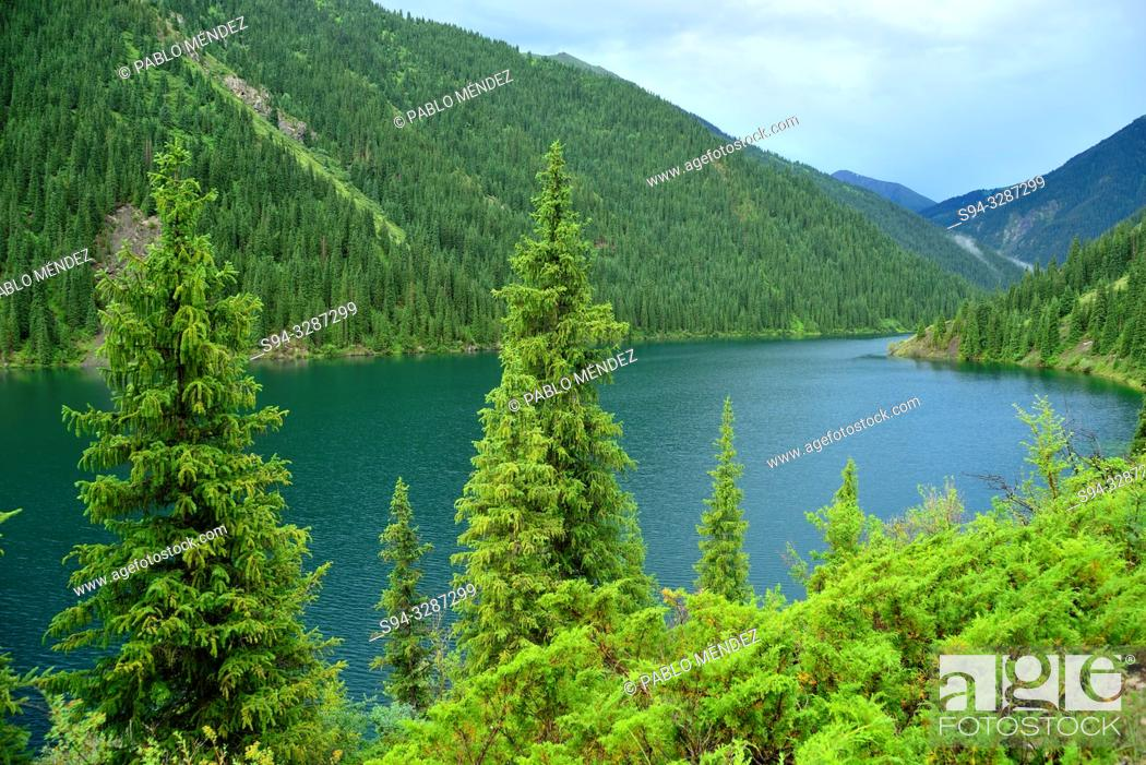 Stock Photo: View of the Kolsai lake number 1, Kungey Alatau, Kazakhstan.