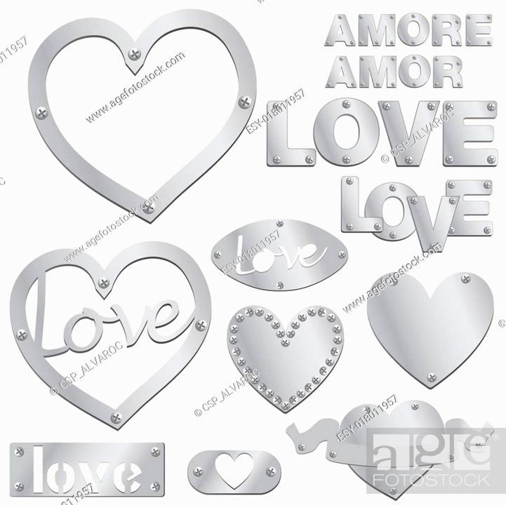 Vector: Plate LOVE silver heart vector illu.