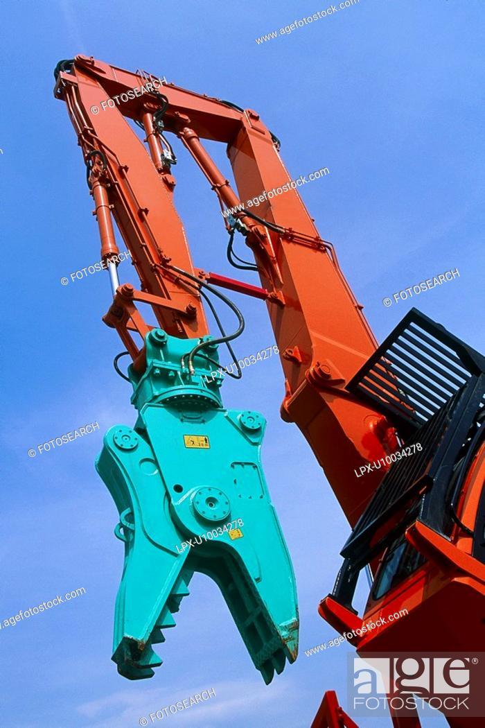 Stock Photo: Pulveriser attachment on hydraulic arm.