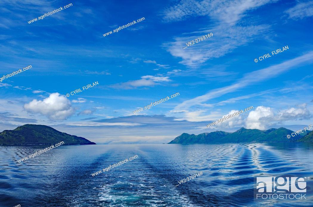 Stock Photo: Ship wake Shelikof Strait Ak.
