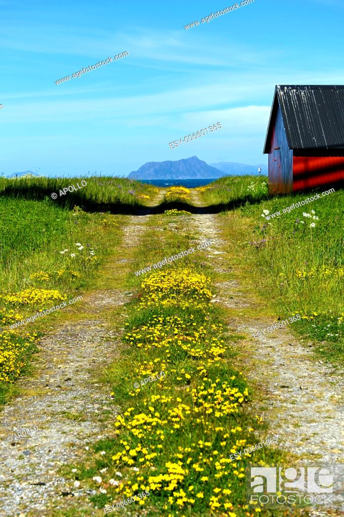 Photo de stock: Dirt road with mountain range and barn, Norway.