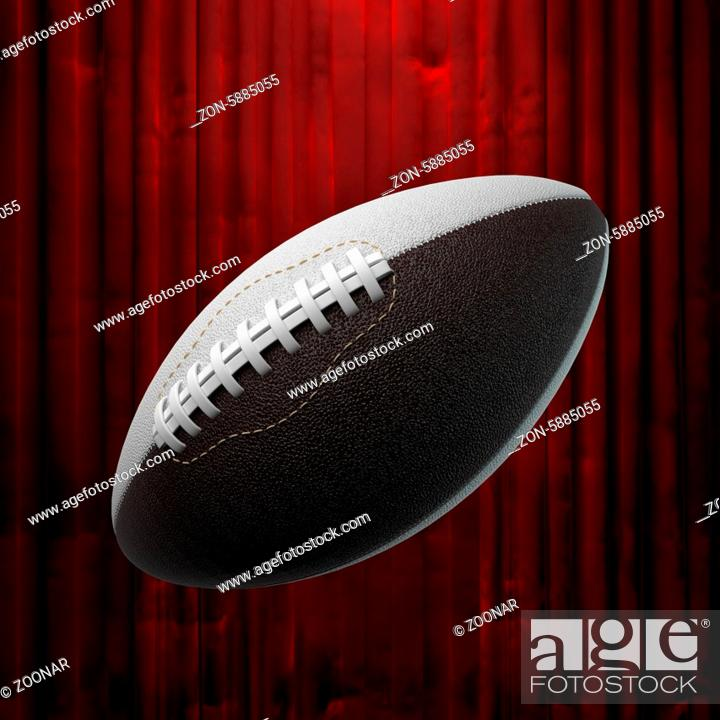 Stock Photo: american football and red curtain.