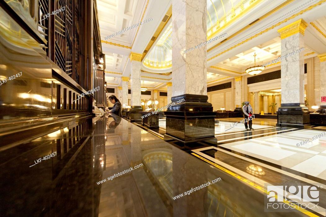 Art Deco Bank.Polished Marble And Art Deco Interior Lobby Bank Of China