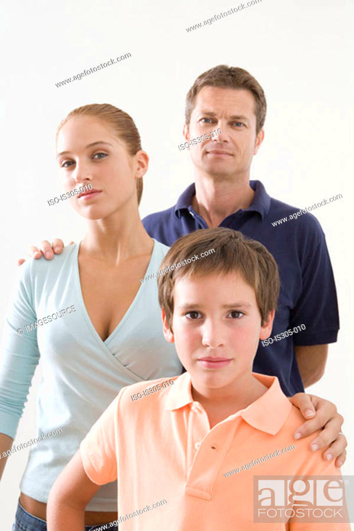 Stock Photo: Father with daughter and son.