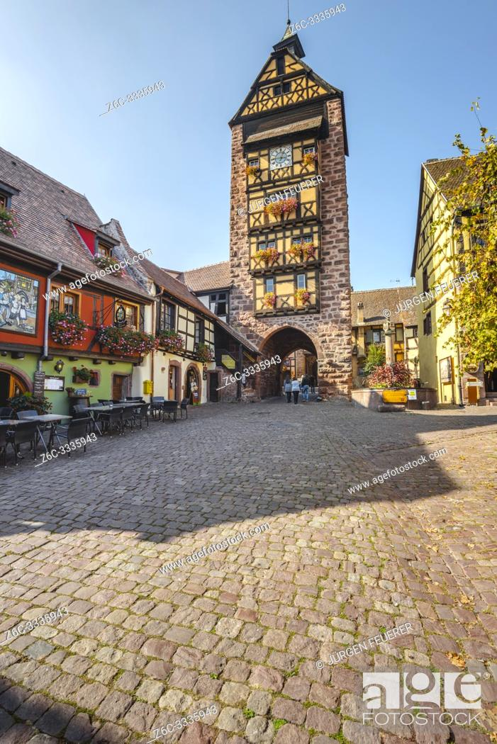 Stock Photo: old town gate of the historical village Riquewihr, Alsace, France, town wall and tower.