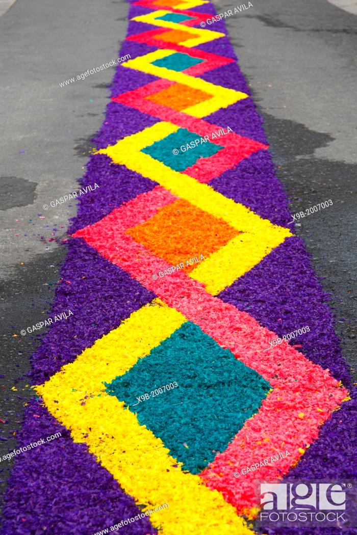 Flower carpets made from artificially colored wood shavings