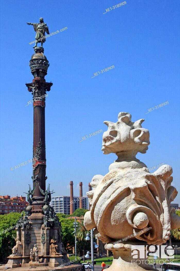 Stock Photo: Columbus Monument, Barcelona, Catalonia, Spain.
