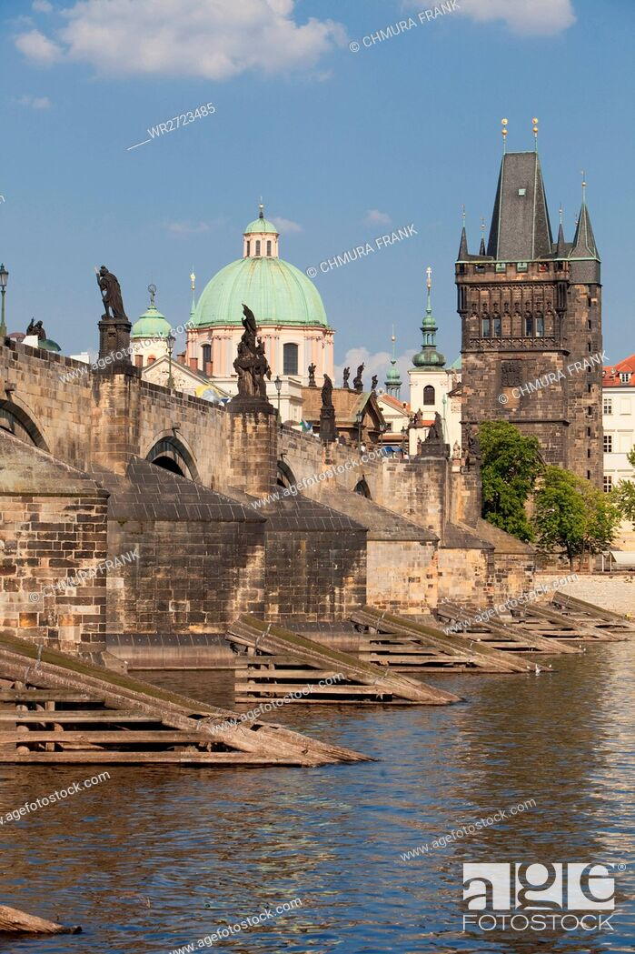 Stock Photo: czech republic prague - charles bridge and spires of the old town.