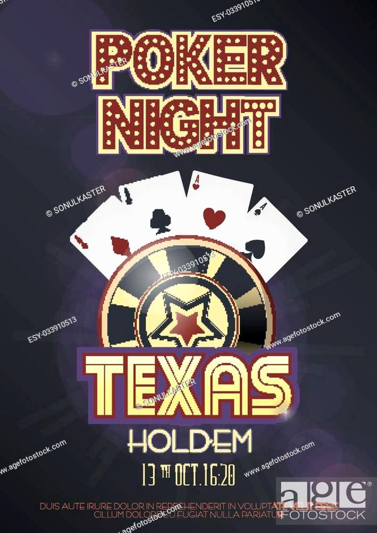 Texas Hold Em Poker Night Invitation Poster Or Banner Template With Four Aces Combination Stock Vector Vector And Low Budget Royalty Free Image Pic Esy 033910513 Agefotostock