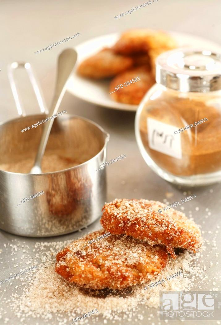 Stock Photo: Pear and almond cakes with cinnamon sugar.