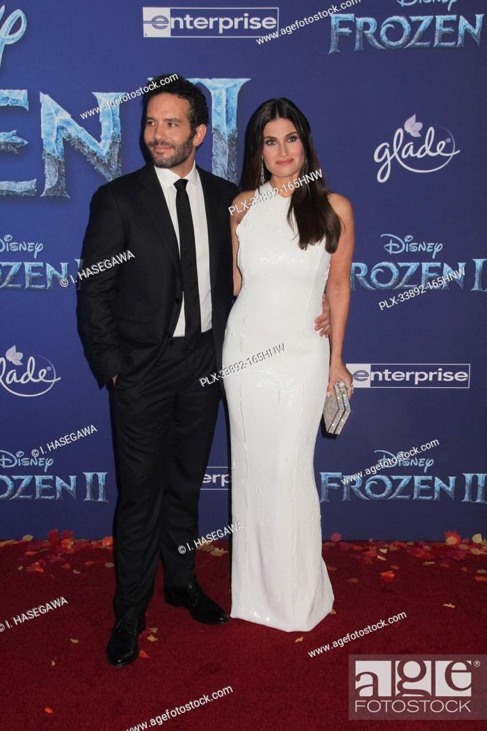 """Stock Photo: Aaron Lohr, Idina Menzel 11/07/2019 The World Premiere of """"""""Frozen 2"""""""" held at the Dolby Theatre in Los Angeles, CA. Photo by I."""
