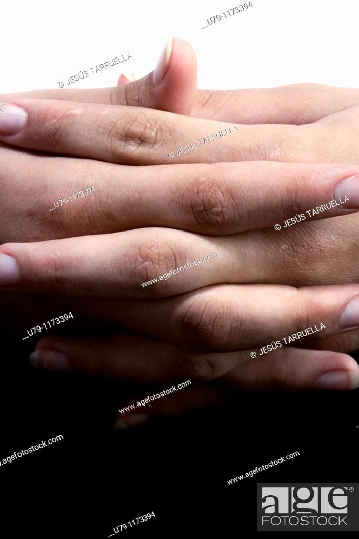 Stock Photo: Woman's hands resting.