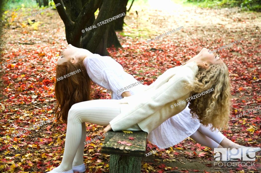 Stock Photo: Young women relaxing in park.
