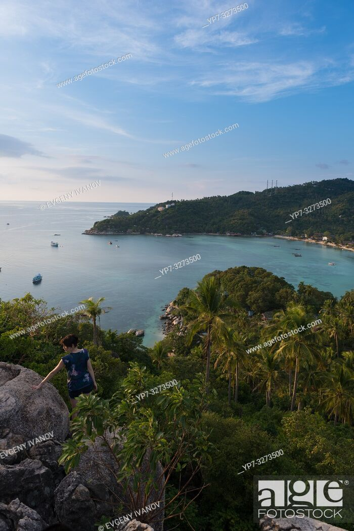 Stock Photo: Ko Tao island view from the high rocky hill.