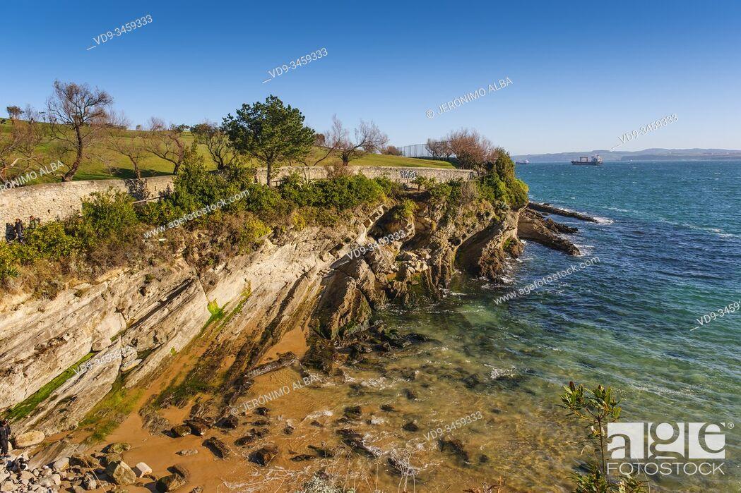 Stock Photo: Cala and Molinucos beach at Mataleñas, Cabo Menor. Santander, Cantabrian Sea. Cantabria, north Spain. Europe.