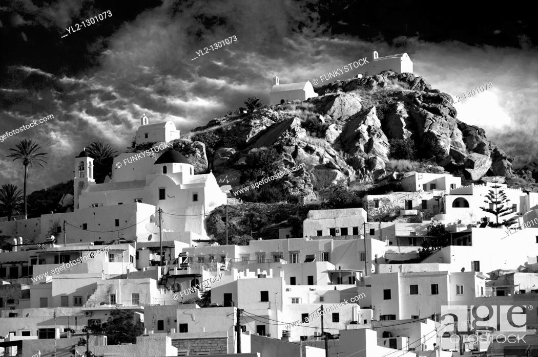 Stock Photo: The Hill city of Chora, Ios, Greece, Cyclades Island.