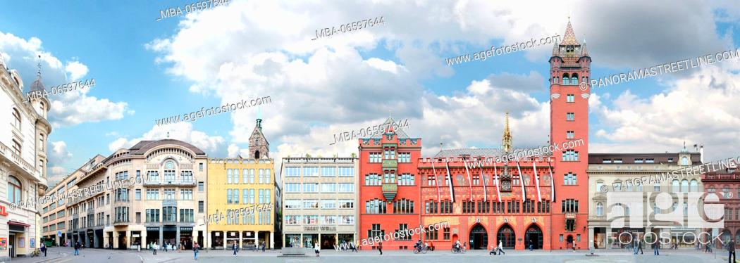 Stock Photo: Switzerland, Basel, town hall and market square in linear depiction, streetline multi-perspective photography,.