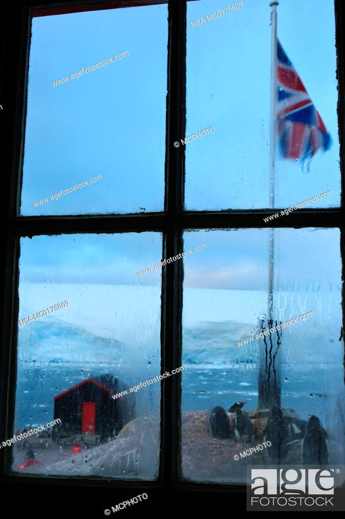 Stock Photo: Looking out a window at Port Lockroy Antarctic.