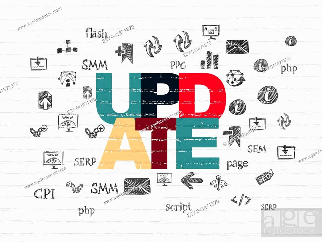 Stock Photo: Web design concept: Painted multicolor text Update on White Brick wall background with Hand Drawn Site Development Icons.