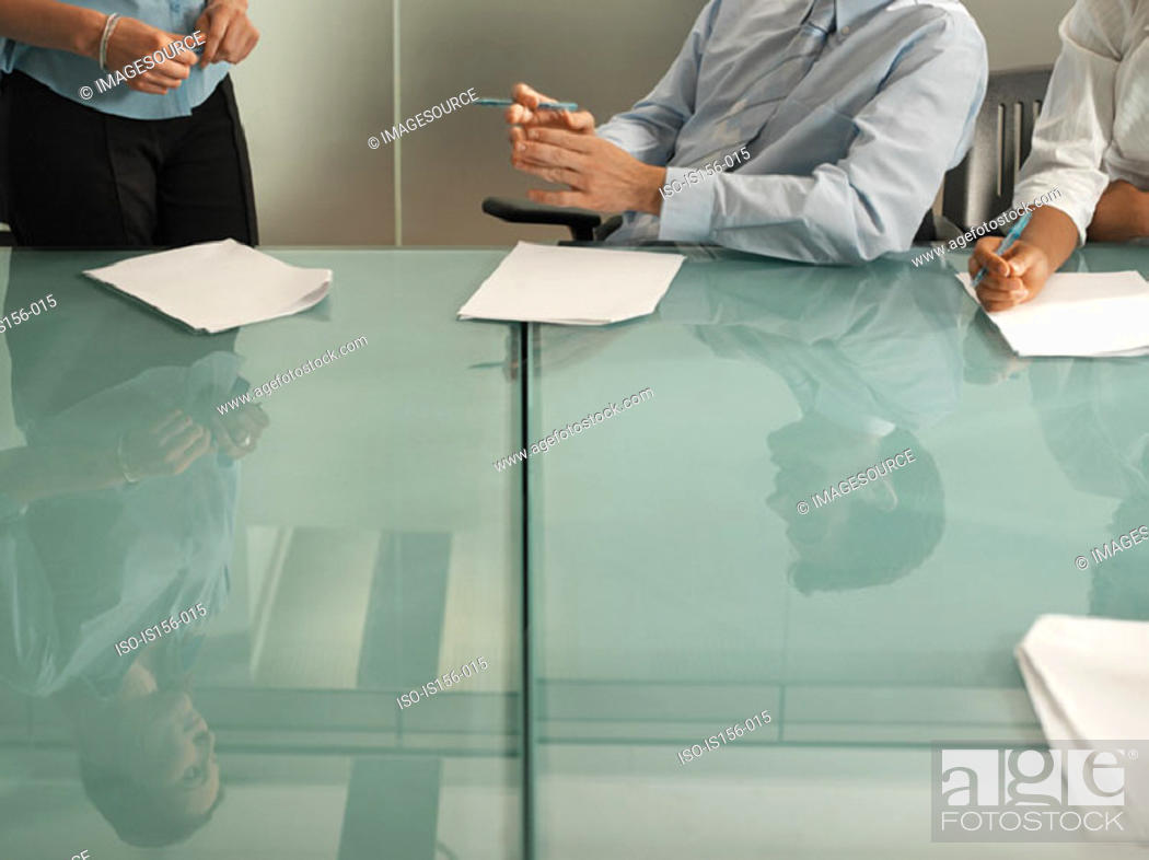 Stock Photo: Discussion in a meeting.