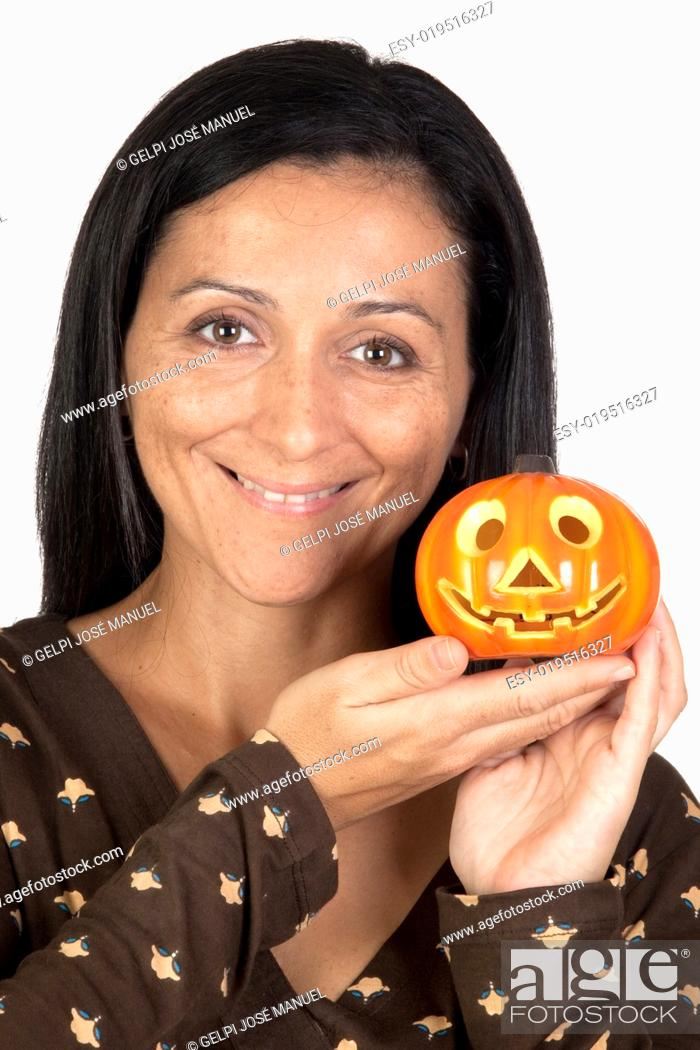 Stock Photo: Attractive girl with a pumpkin.