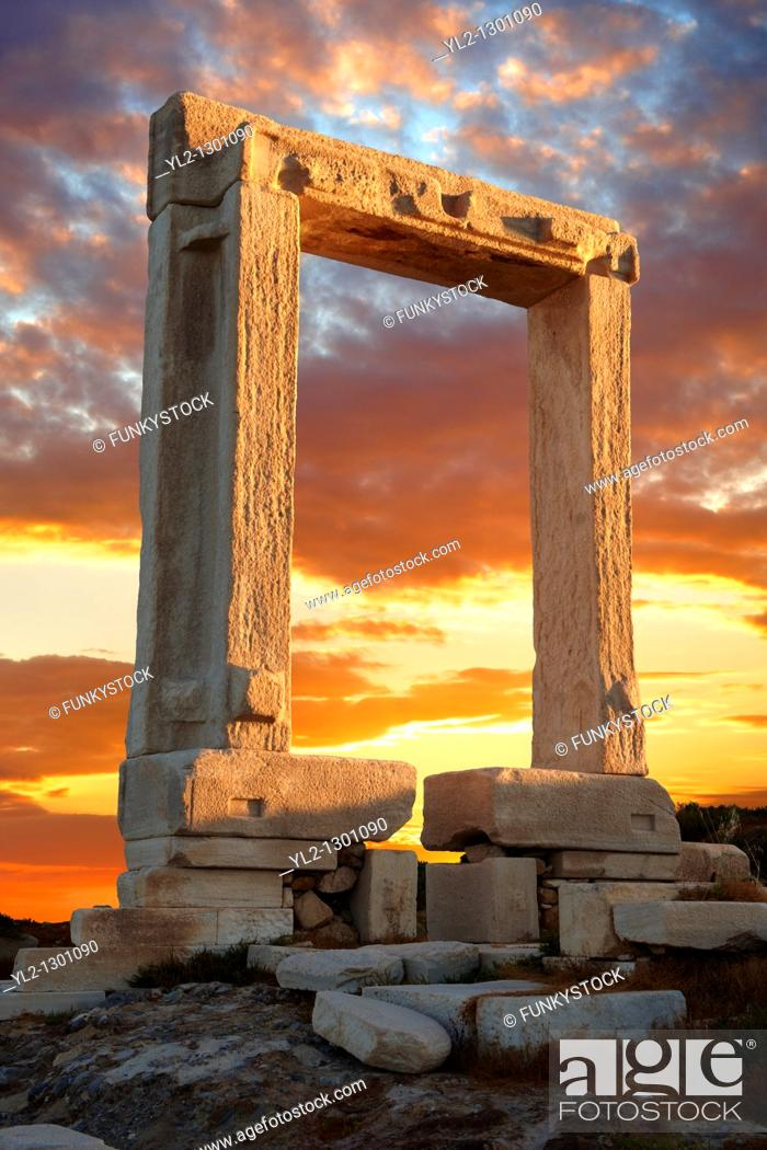 Stock Photo: Doorway in the ruins of the Temple of Apollo. Naxos, Greek Cyclades Islands.