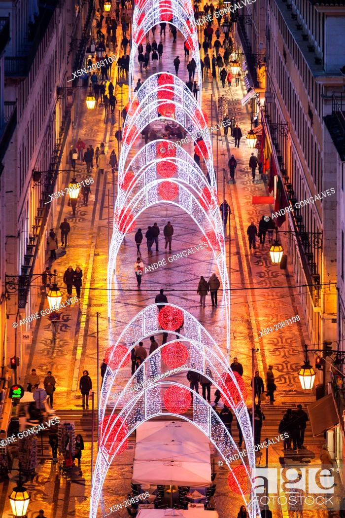Stock Photo: Christmas Lights in the Rua Augusta, Lisbon, Portugal, Europe.