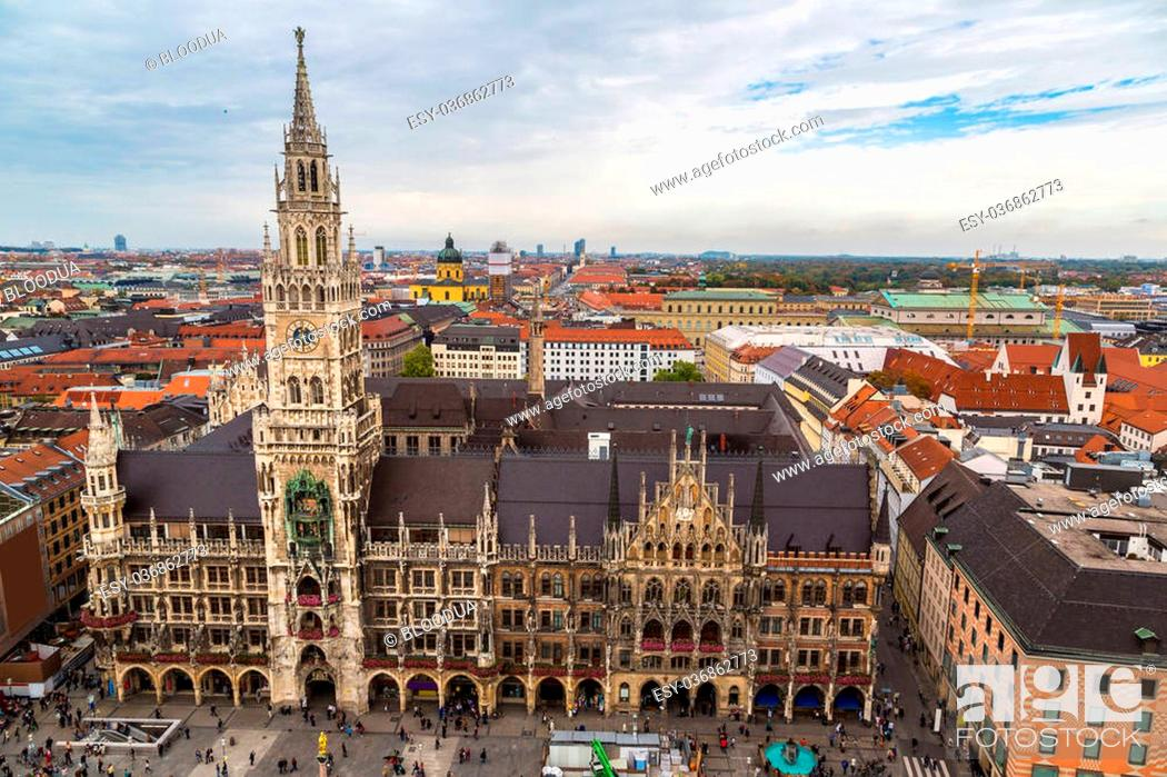 Stock Photo: Aerial view on Marienplatz town hall in Munich, Germany.