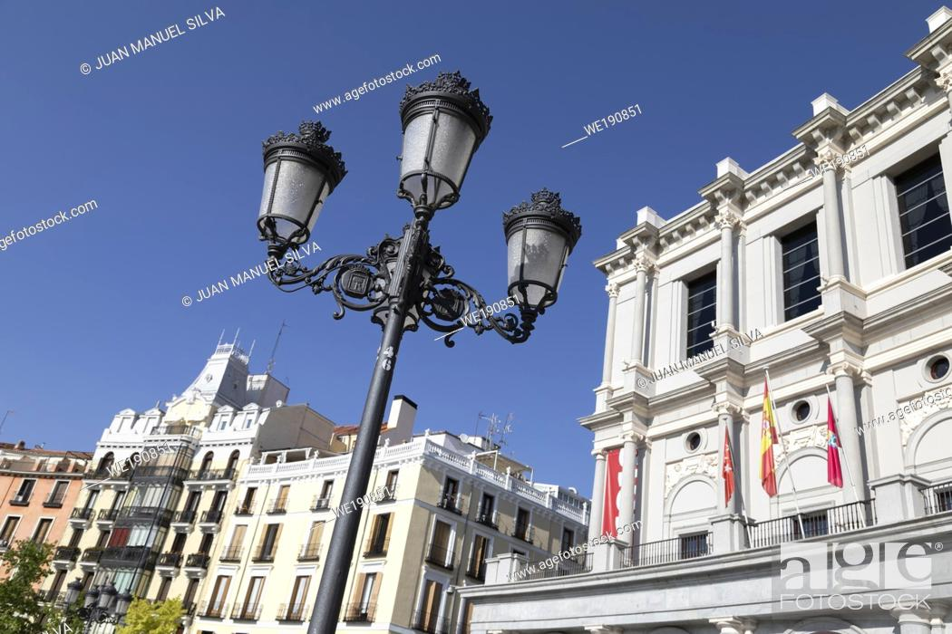 Stock Photo: Teatro Real (Madrid's Opera House) and buildings as seen from the Plaza de Oriente in central Madrid.