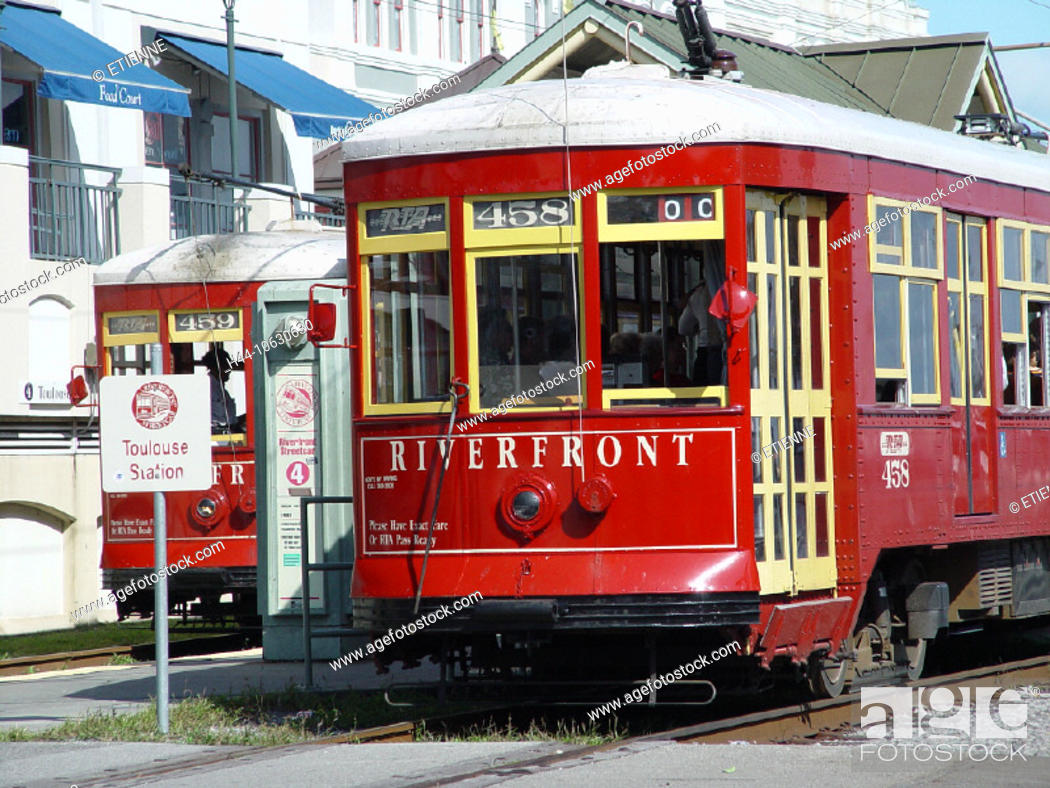 Stock Photo: 10630630, railway, railroad, stop, historical, Louisiana, New Orleans, nostalgia, nostalgically, public transport, Riverfront,.