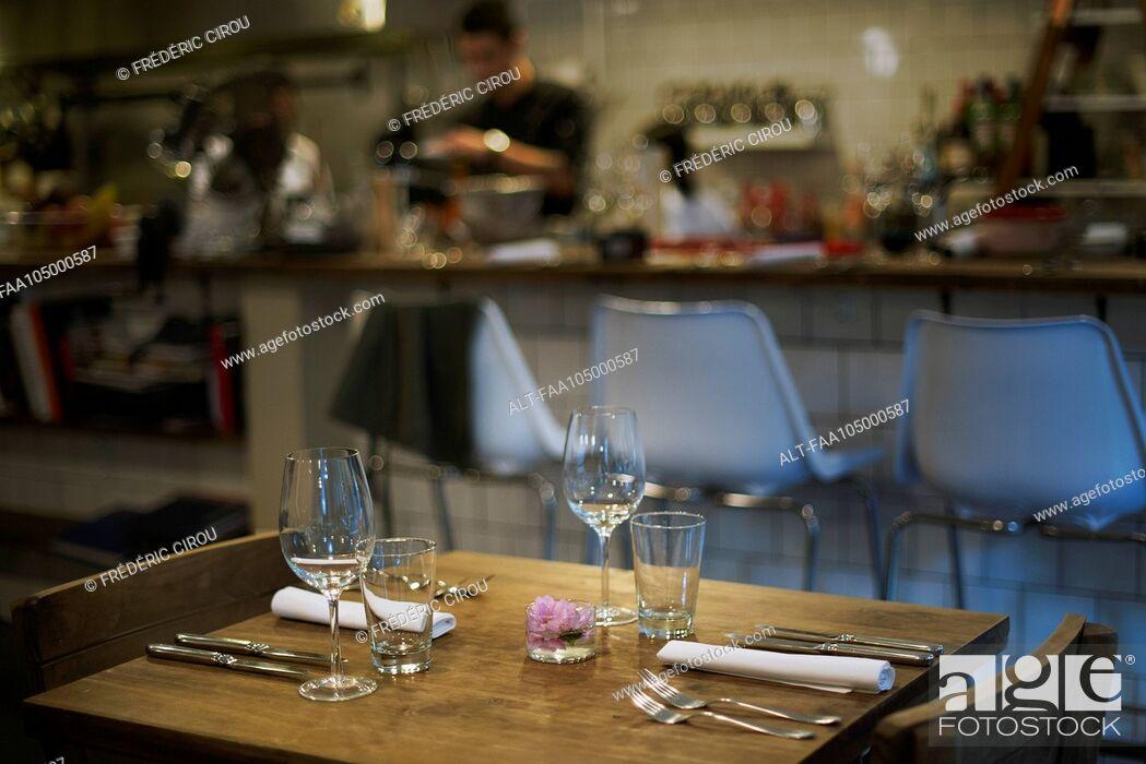 Stock Photo: Restaurant table ready for customer.