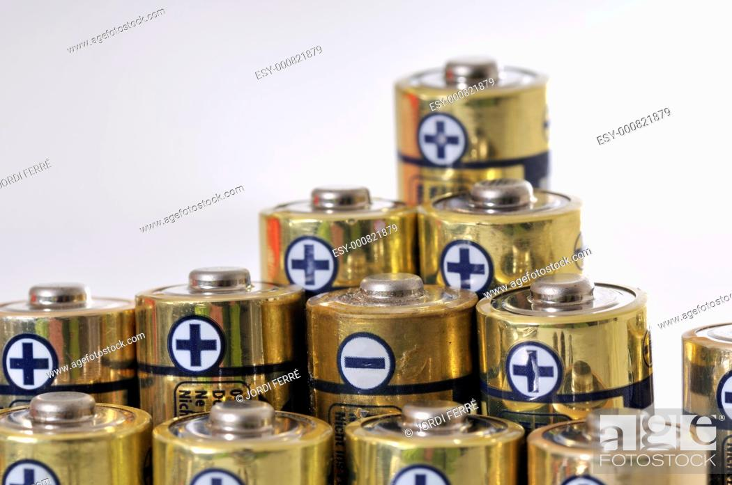 Stock Photo: batteries on white background.