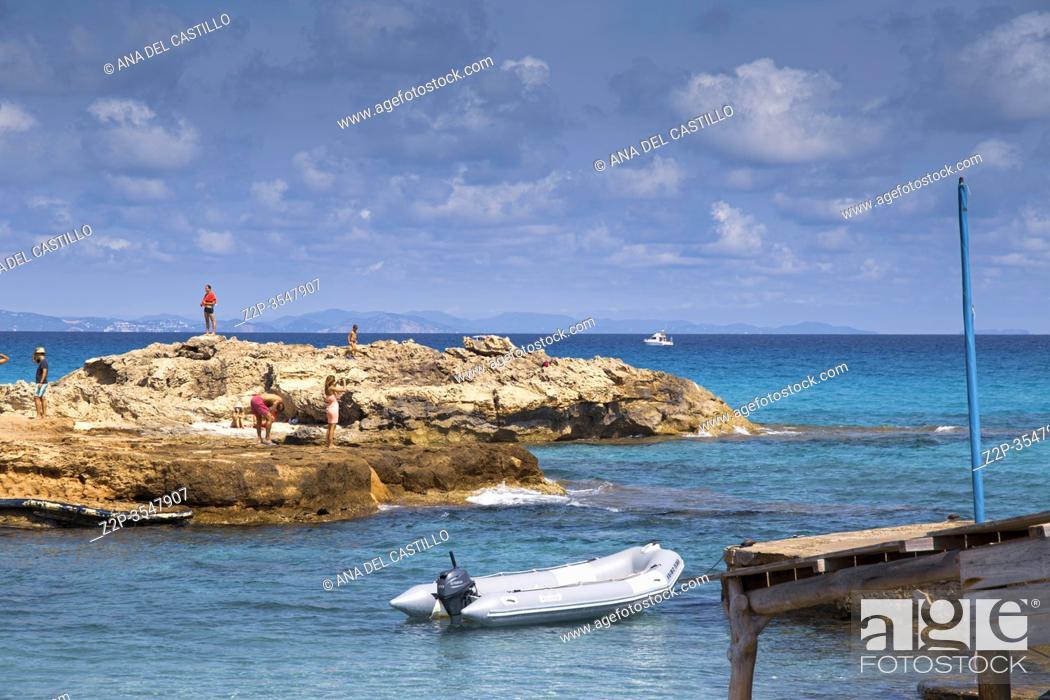 Stock Photo: Formentera island in Balearics Spain Seascape Calo de San Agusti.