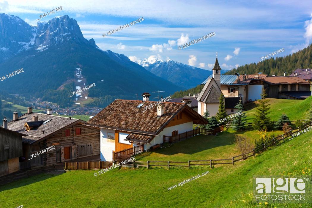 Stock Photo: Pozza Di Fassa towards Cima Dodici, Dolomites, Trentino-Alto Adige, Italy, Europe.