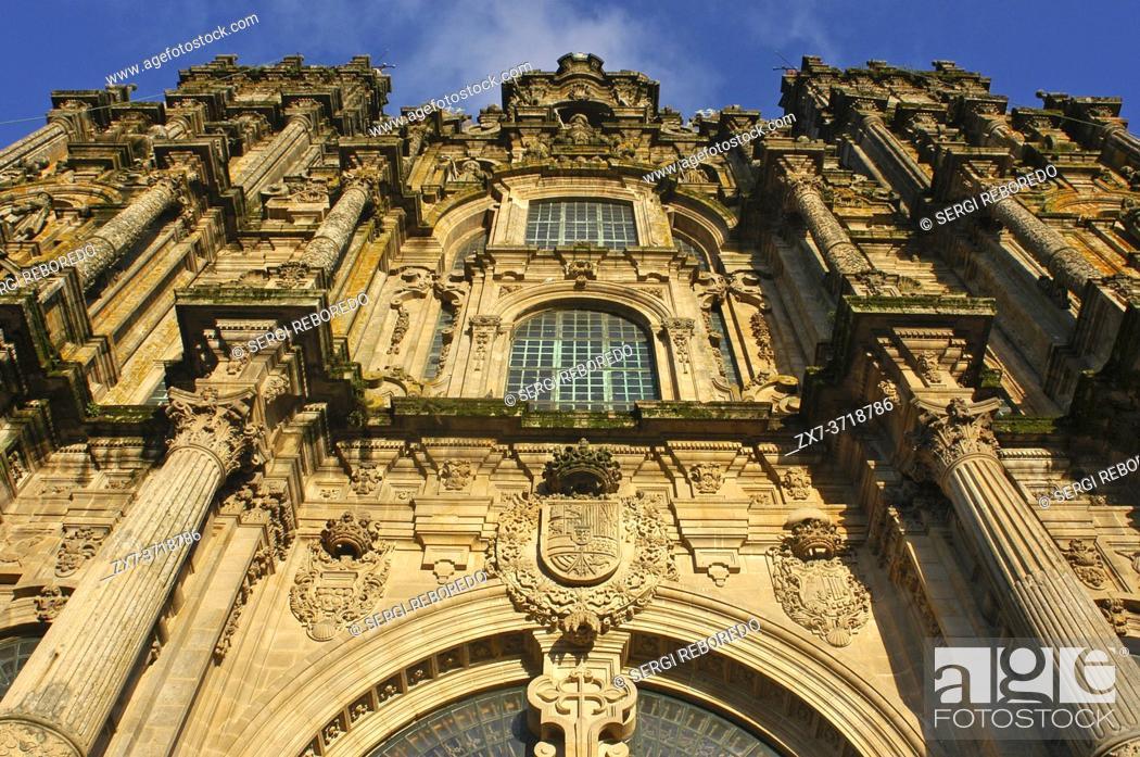 Stock Photo: Way of St. James, Jacobean Route. Santiago's cathedral. Praza do Obradoiro. Santiago de Compostela. St. James's Way, St. James's Path, St.