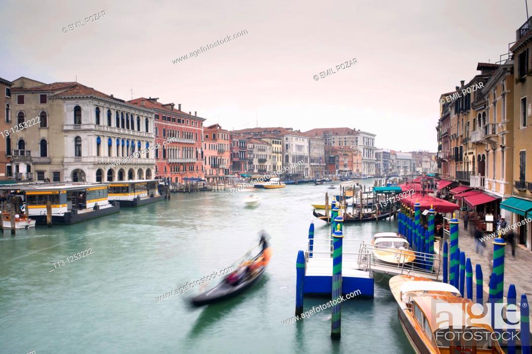Stock Photo: Venice in Italia, Canale Grande as seen from Rialto bridge, long exposure tripod shot.