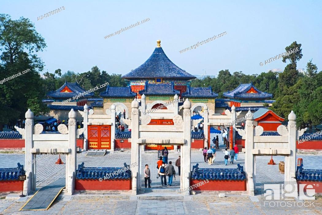 Stock Photo: China - Beijing PÚkin - Chinese City - Temple of the Sky Tiantan - Heavenly imperial crown Huangqingyu.