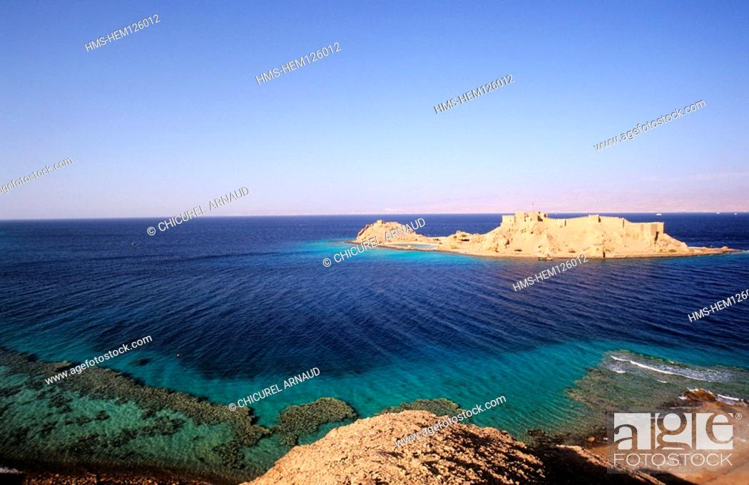 Stock Photo: Egypt, desert of Sinaï, the castle of Coral Island, near Taba and on the shores of the Red Sea.