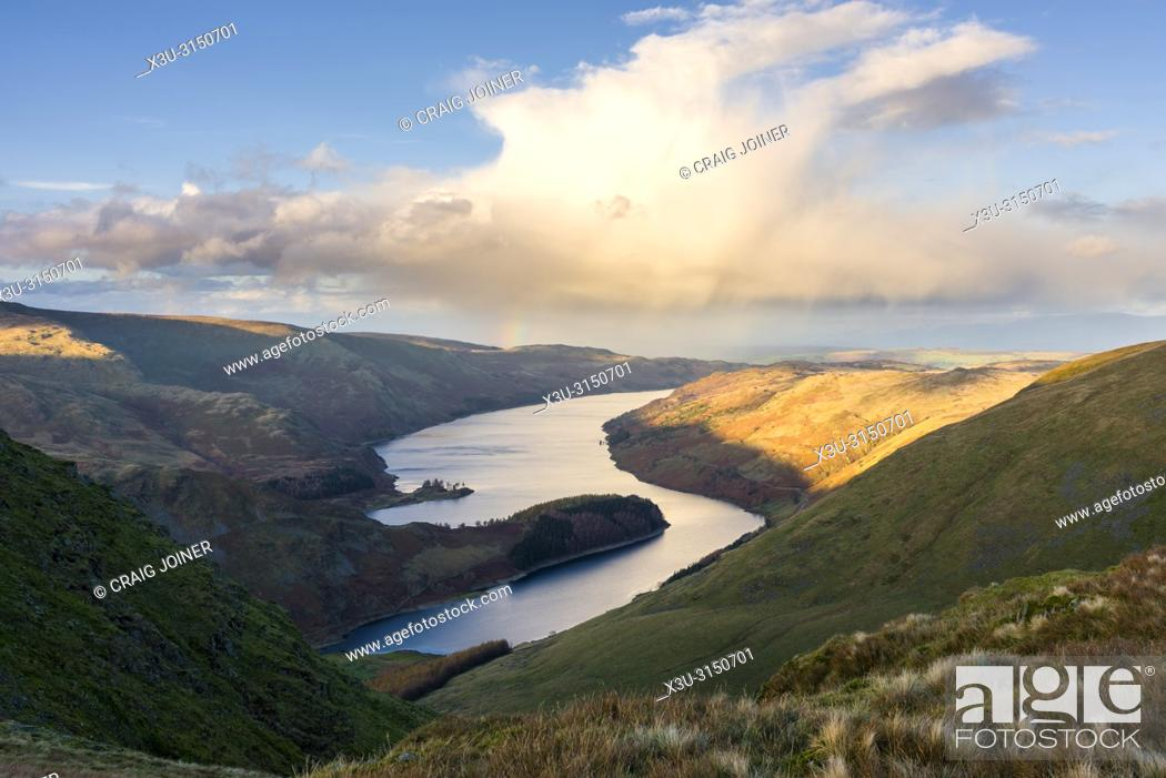 Stock Photo: Haweswater Reservoir from Harter Fell in the Lake District National Park, Cumbria, England.