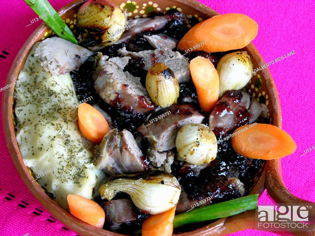 Stock Photo: Duck in blackberry sauce. Hacienda Blanca Flor, near Campeche. Mexico.