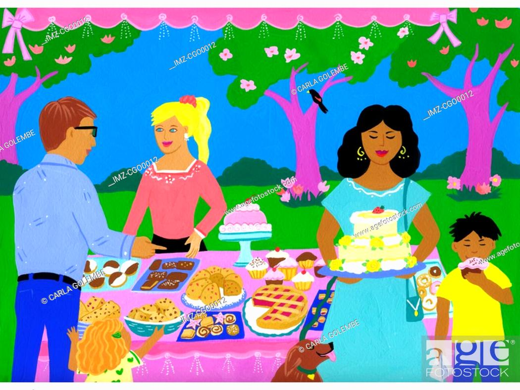 Stock Photo: A painting of a bake sale.