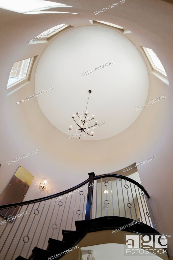 Imagen: Low angle view of staircase and circular ceiling; Valencia; California; USA.
