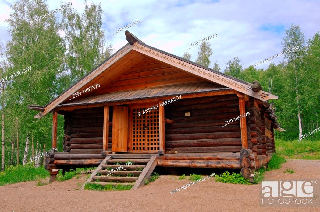 Stock Photo: Country wooden estate  'Taltsa's' Talzy - Irkutsk architectural and ethnographic museum  Baikal, Siberia, Russian Federation.