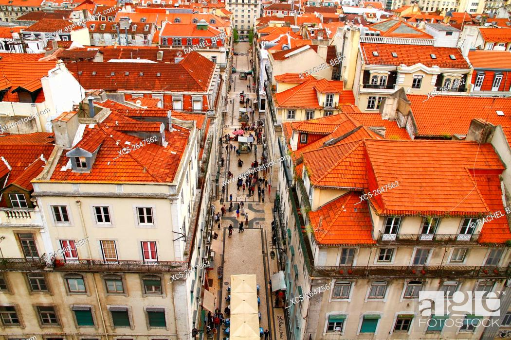 Stock Photo: View from Elevador de Santa Justa, Lisbon, Portugal.