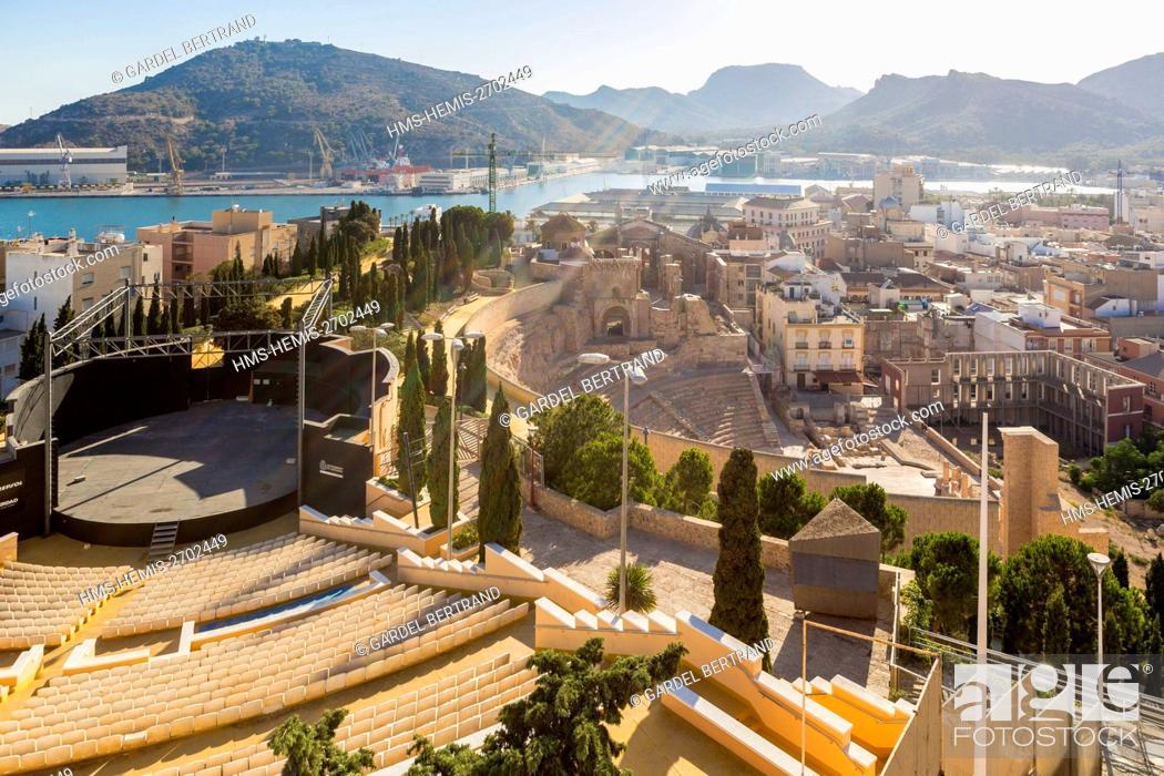 Stock Photo: Spain, Murcia Community, Cartagena, general view of the Roman theater.
