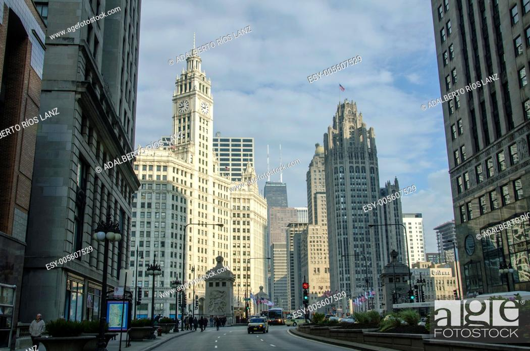 Stock Photo: Michigan Avenue with the Wrigley Building on the back.