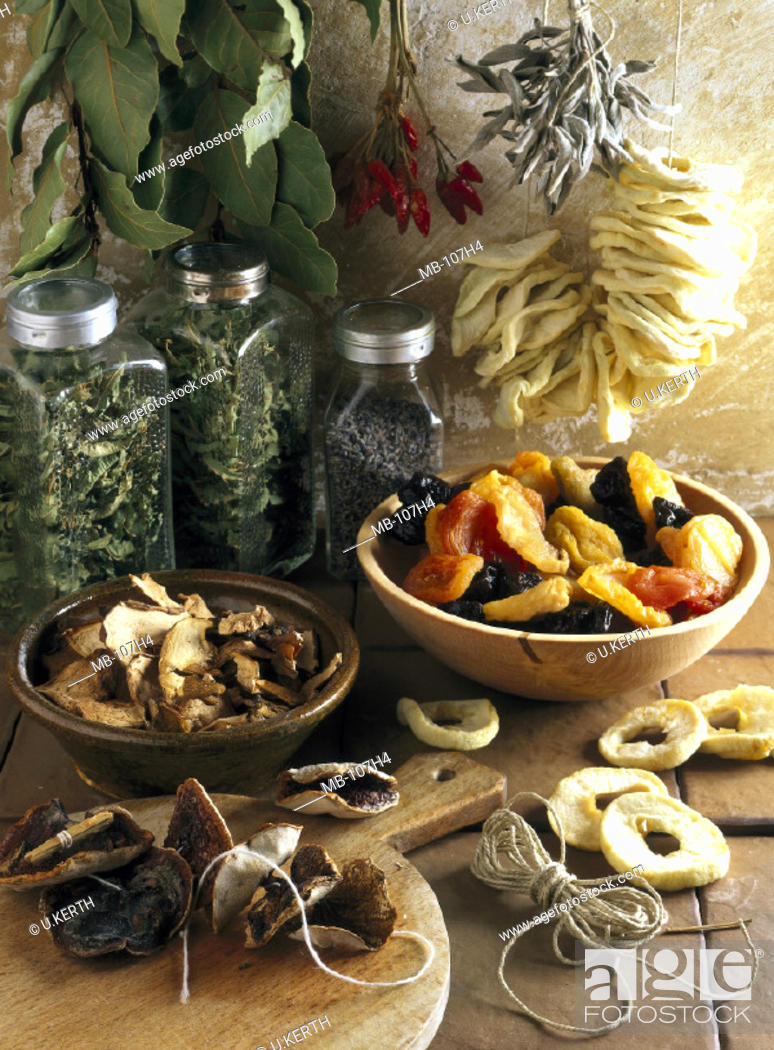 Stock Photo: Dried fruit, Herbs, Spices.